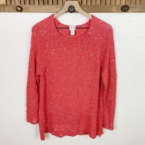 Chico's Coral Knit Sequin High Low Sweater